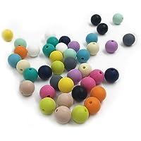 Kissteether 50pcs 0.47インチ(12ミリメートル)自然食品グレードシリコーンおしゃぶりビーズの赤ちゃんのおもちゃDIYネックレス/ブレスレットアクセサリーラウンドシリカビーズを混合色 (50pcs)