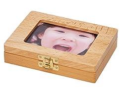 (BMC JAPAN) 乳歯ケース 乳歯入れ 木製 抜けた日シール付(日本語表記) フォトフレーム 写真立て