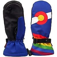 MolySun スキーグローブ 登山 手袋 メンズスキーグローブファッションプリント防水防風ノンスリップスノースケートスキーグローブ冬の暖かいミトン手袋