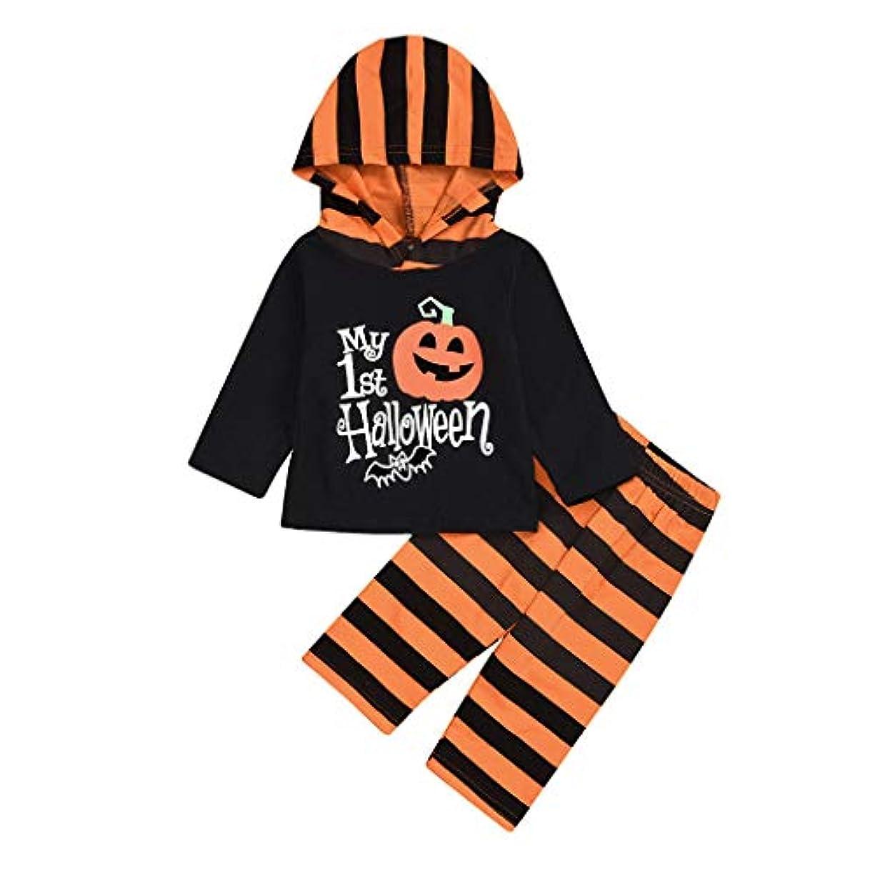 トイレ病争うハロウィン新生児男の子女の子ロンパース+ストライプパンツ帽子衣装セット秋冬 新生児