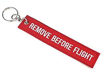 『REMOVE BEFORE FLIGHT』(刺繍タイプ/赤)キーチェーン
