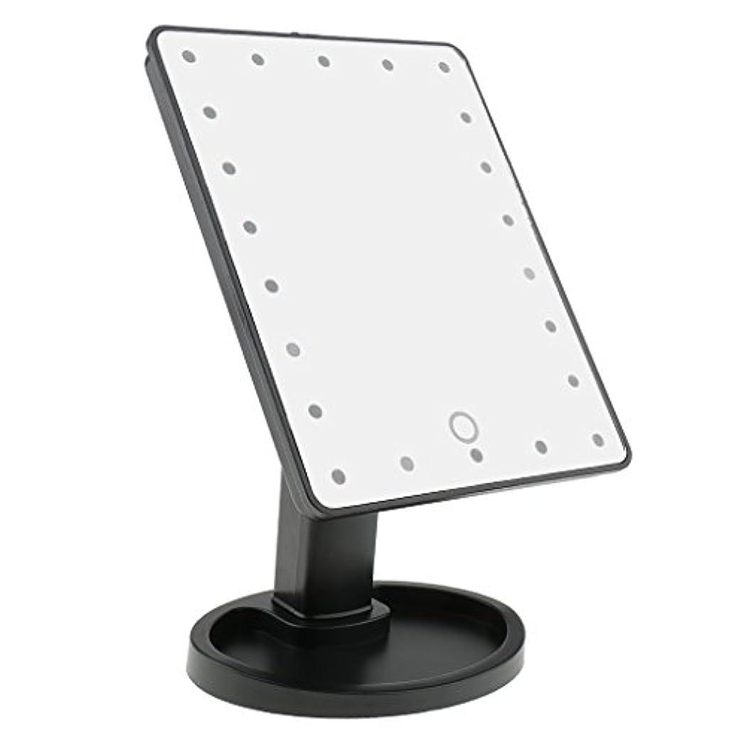 伝導率中性ハウスPerfk タッチスクリーン 美容 化粧 ミラー 22 LED ライト 360度 自由 回転 耐久性 2色選べる - ブラック