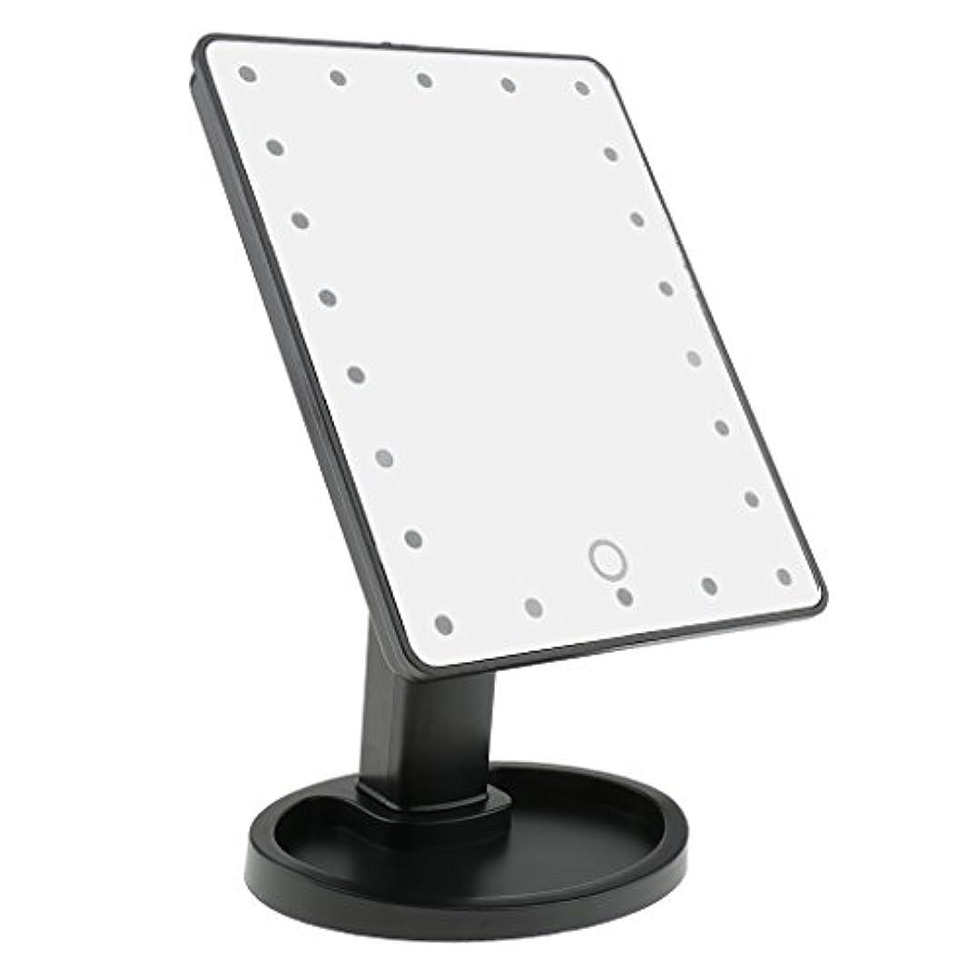 艦隊直感オフセットPerfk タッチスクリーン 美容 化粧 ミラー 22 LED ライト 360度 自由 回転 耐久性 2色選べる - ブラック