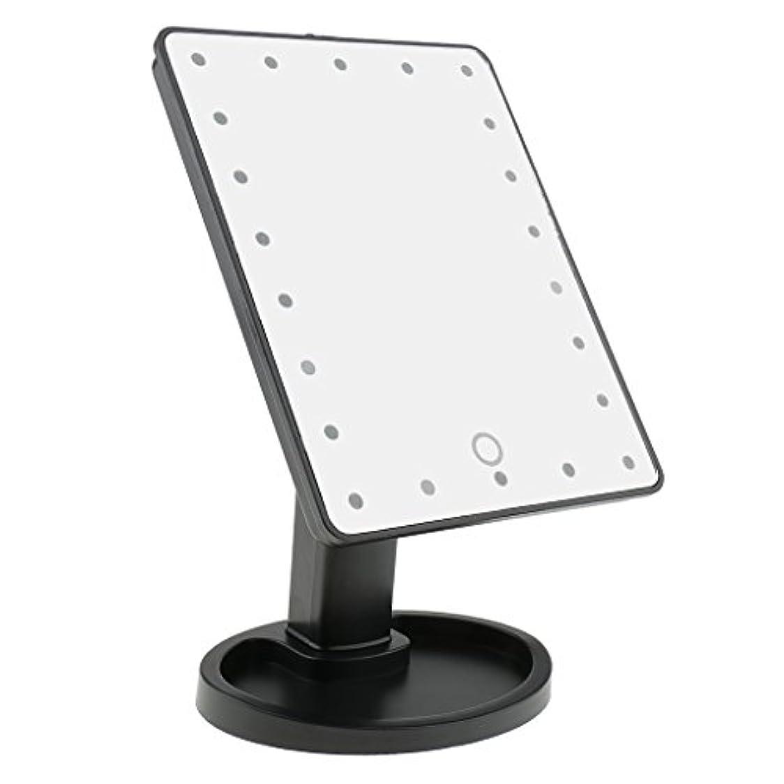 正当な除外する種をまくPerfk タッチスクリーン 美容 化粧 ミラー 22 LED ライト 360度 自由 回転 耐久性 2色選べる - ブラック
