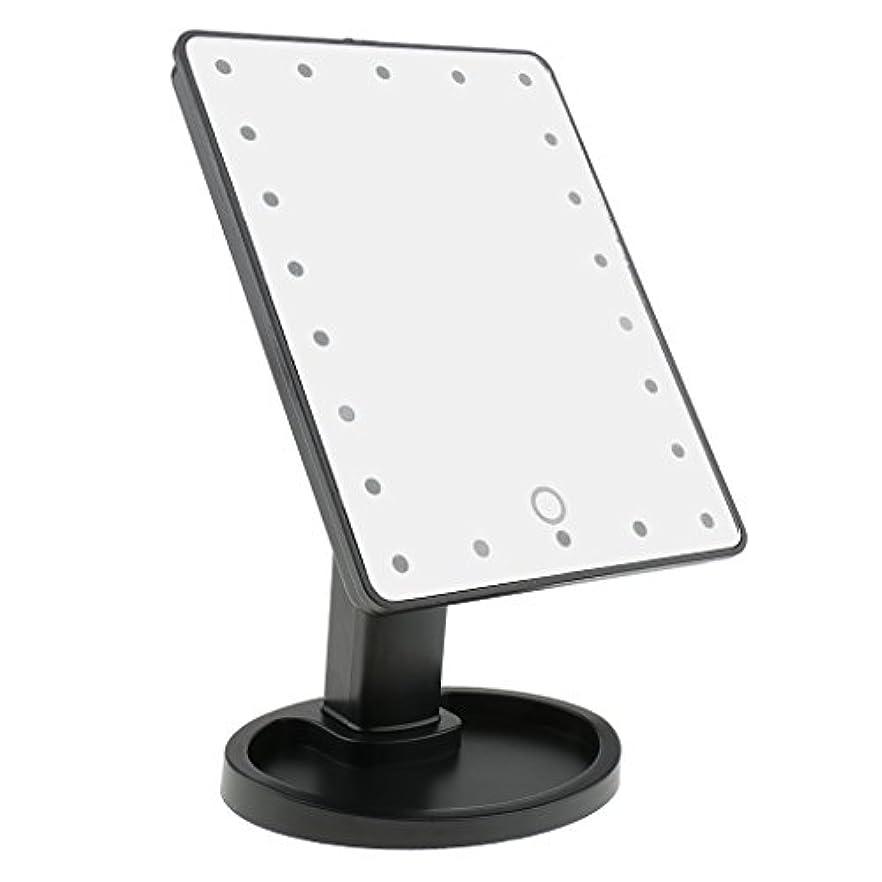 敵対的かみそりオッズPerfk タッチスクリーン 美容 化粧 ミラー 22 LED ライト 360度 自由 回転 耐久性 2色選べる - ブラック