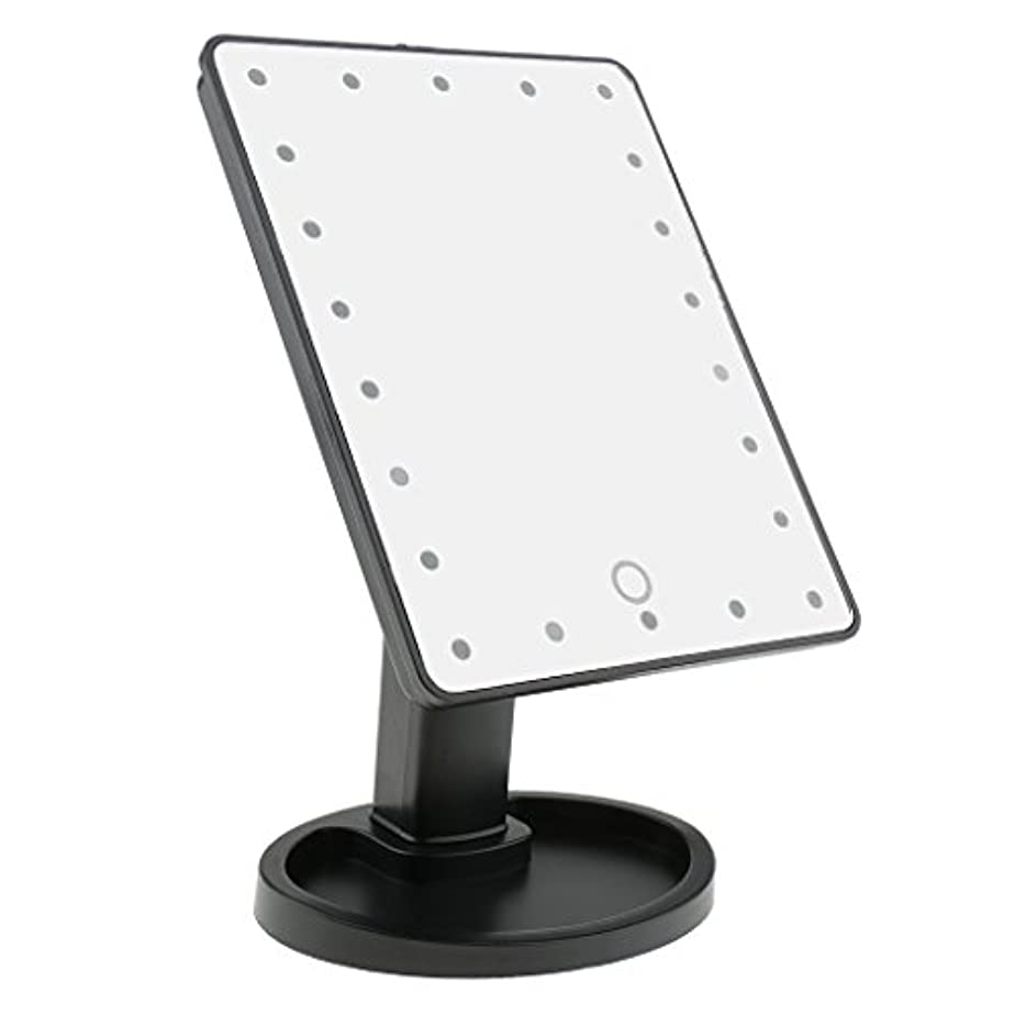 宝混雑横にタッチスクリーン 美容 化粧 ミラー 22 LED ライト 360度 自由 回転 耐久性 2色選べる - ブラック