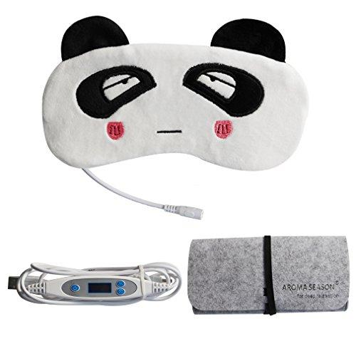 Aroma Season 蒸気でホットアイマスク USB電熱式 ストレス解消 パンダのデザイン 無香料&ラベンダーの香り兼用 温度とタイマー調節可能 日本語の取扱説明書付き スリープエイド(パンダ)