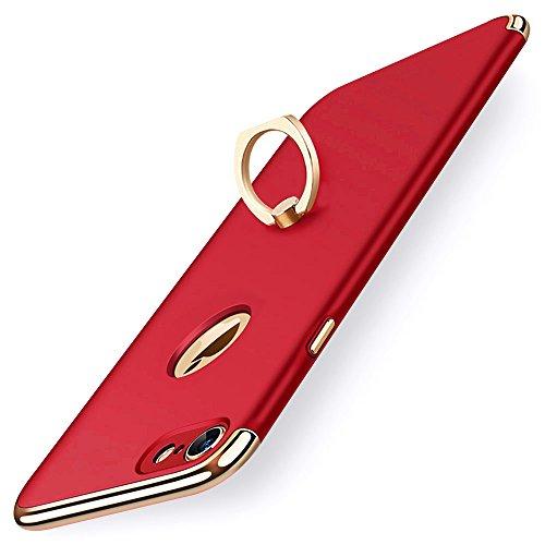 KYOKA iPhone8 ケース iPhone7 ケース リング付き 衝撃防止 スタンド機能 3パーツ式 アイフォン8 / 7 ケース 高級感 薄型 携帯カバー (iPhone8 / iPhone7, レッド)