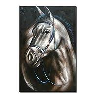 ハンドペイント 抽象画 馬 油絵 キャンバス 動物 ウォールアート 装飾 コンテンポラリーアートワーク Unframed 72x48 inch