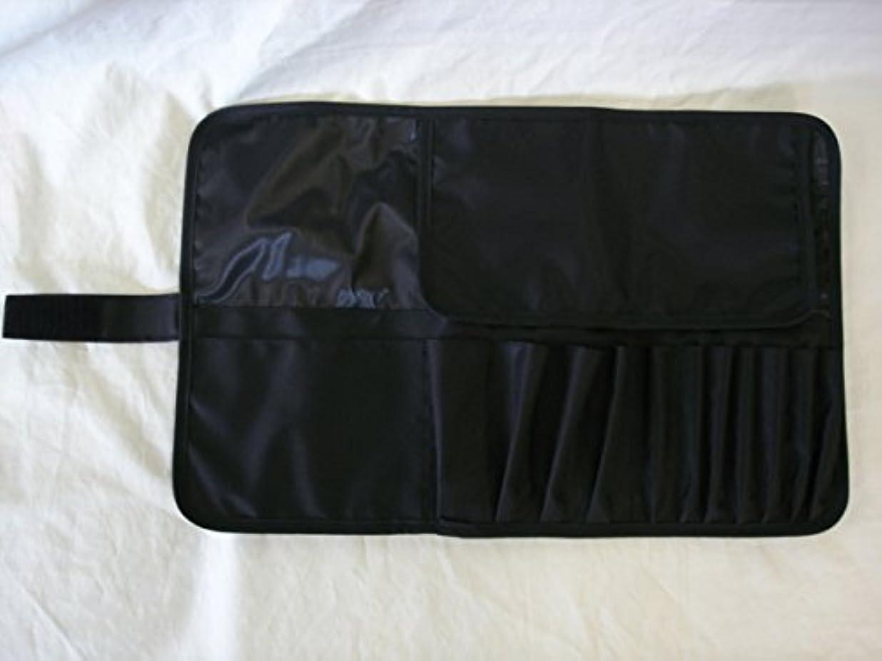 玉おなじみの置換日本製 メイクブラシケース12ポケット付 Lサイズ ブラック