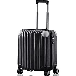 FIELDOOR TSAロック搭載スーツケース (機内持込 Sサイズ) コーナーパッド付 ダブルキャスター ブラック 鏡面ヘアライン仕上げ トラベルキャリーケース リブ構造 ポリカーボ樹脂 軽量 耐衝撃