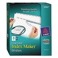 インデックスメーカークリアラベルPunched仕切り、8-tab、手紙、ホワイト、50セット, Sold as 1ボックス、ボックスあたり50セット