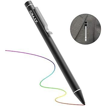 Gouler タッチペン 極細 スマホ タブレット スタイラスペン iPad iPhone Android アルミ製 軽量約12.5g ツムツム USB充電式 5分間自動スリップ タッチペンスタイラス 樹脂製 極細ペン先1.6mm (ブラック)