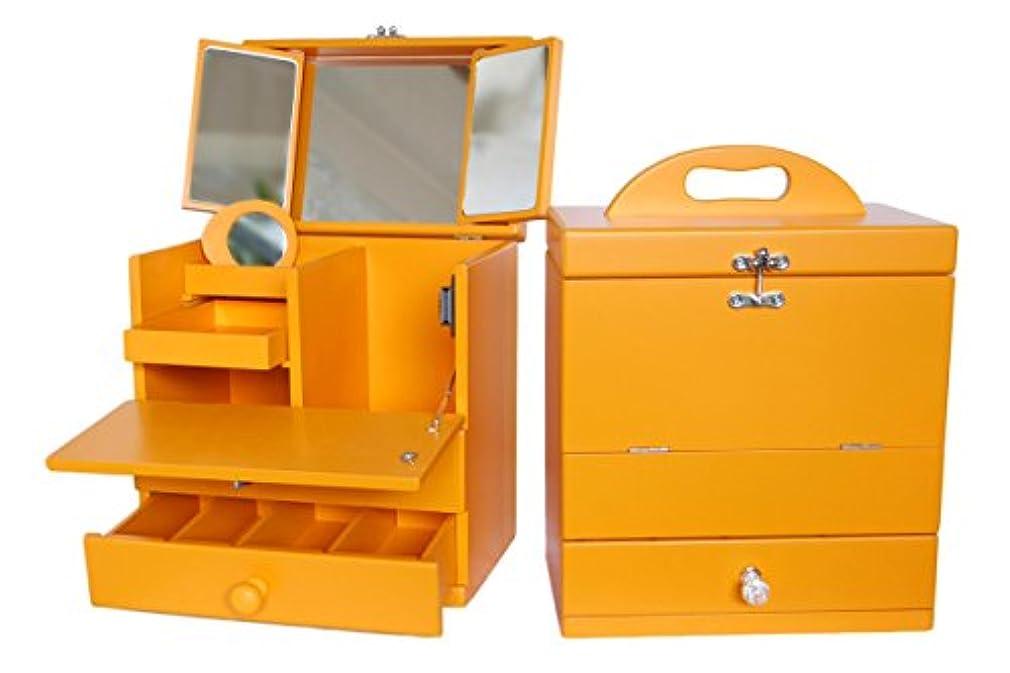 誕生モネ違法訳あり三面鏡メイクボックス オレンジ 木製
