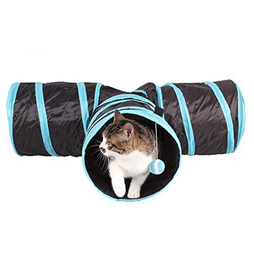 折りたたみ式 キャットトンネル ペットのおもちゃ 猫のトンネル ペット用品 3穴付き 通気性設計 直径25cm ブラック