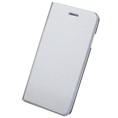 【F-grip】 Samsung Galaxy S7 edge ケース 手帳型 カバー カードポケット スタンド機能 (galaxy s7 edge, シルバー)
