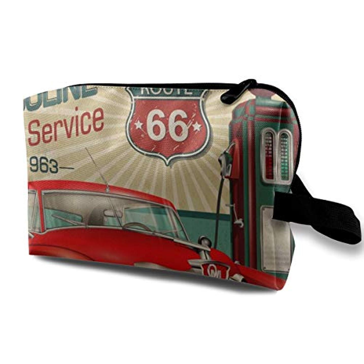 宝石電気技師確認してください1960s Route 66 Retro Poster 収納ポーチ 化粧ポーチ 大容量 軽量 耐久性 ハンドル付持ち運び便利。入れ 自宅?出張?旅行?アウトドア撮影などに対応。メンズ レディース トラベルグッズ