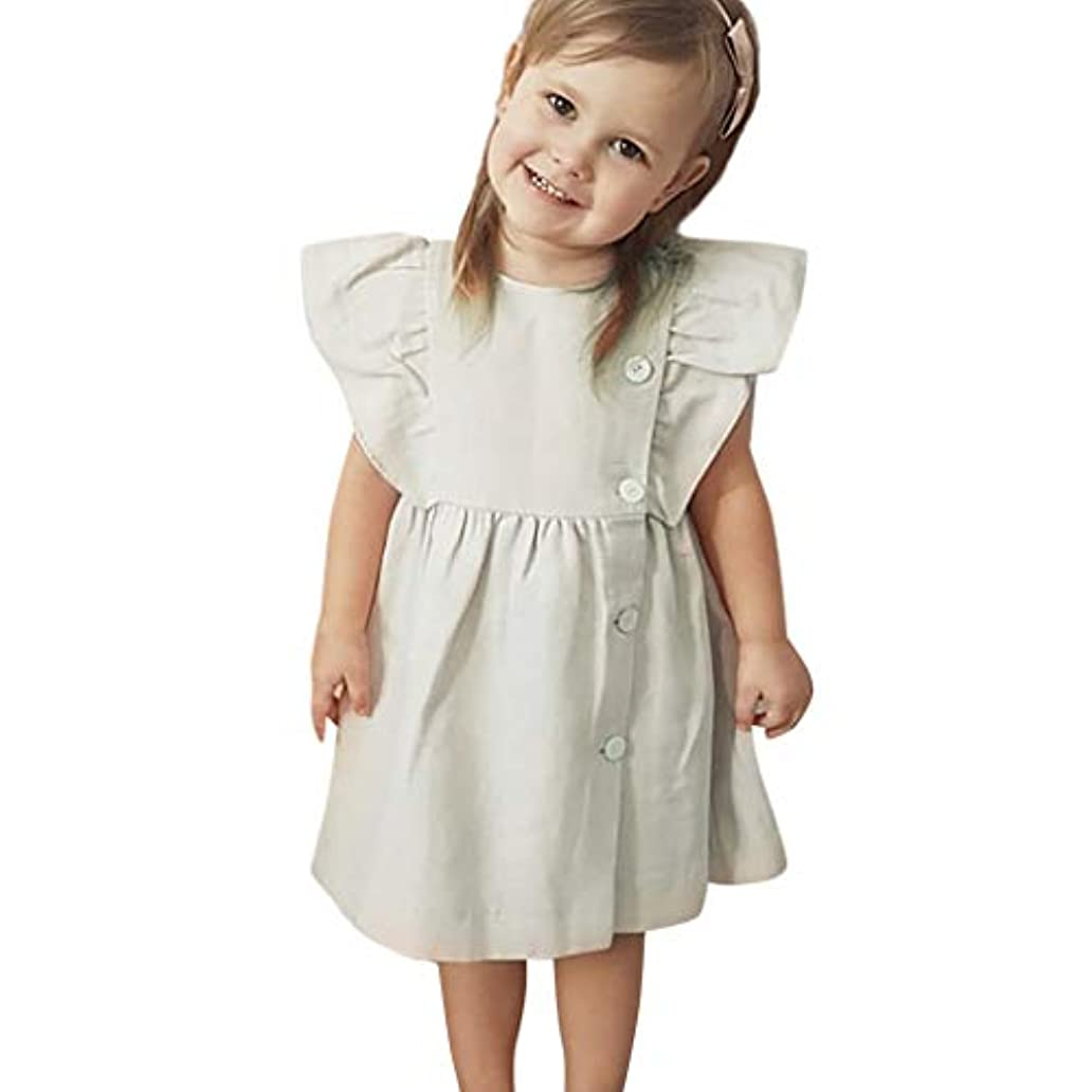 問題薄暗い結婚した洋子ちゃん 女の子 あかちゃん 夏服 ベビー服 フリルスリーブ 無地 フリル ソリッドカラー ボタン ワンピース 可愛い 女の子 ドレス80CM-190CM-100CM-110CM(0ヶ月-2歳)