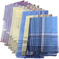 Blesiya 12PACK Men Handkerchiefs 100% Cotton Premium Pocket Square Hankies