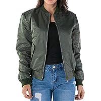 Macondoo Womens Plus Size Stand Collar Flight Zipper Front Warm Jackets Coat