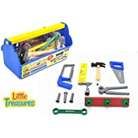 Little Treasures workman's carry along tool box full of assorted tools for kids pretend play with 14 piece deluxe tool series pretend and play playset [並行輸入品]