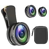 スマホレンズ 235°魚眼レンズ+15Xマクロレンズ+0.4X広角レンズ+12Xマクロレンズ 4In1クリップ式カメラレンズ 高画質 自撮り 接写 iPhoneXs Max/Xs/XR/X/8/8プラス/7/6/ Samsung/LG/HUAWEI/Sonyとほとんどのスマートフォンに対応 簡単装着 携帯レンズ 収納ケース付き