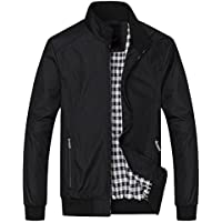 Springrain Men's Casual Stand Collar Slim Leather Sleeve Bomber Jacket