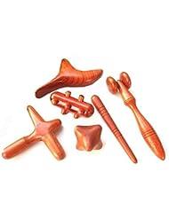 MARUKOA - Set 6 Pcs. Reflexology Traditional Thai Massage Wooden Stick Tool Hand Head Foot Face Body Massage Tool