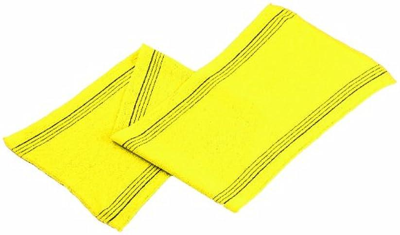 褒賞インタラクション貝殻韓国 アカスリ タオル テミリ 28×88cm 黄色