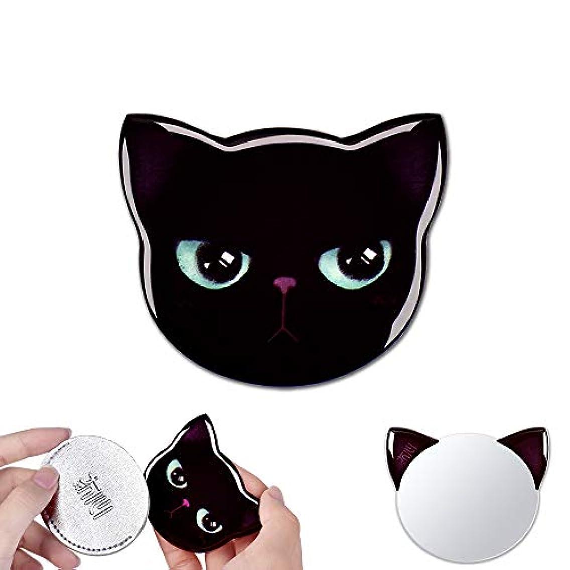 優勢対称たっぷり携帯ミラー コンパクトミラー かわいい 猫型 ポケットミラー 軽量 おしゃれ ハンドミラー 可愛い 手鏡 化粧鏡 ミニ 鏡 猫 ミラー 収納袋付き ギフト プレゼント レディース メンズ(5-黒助)