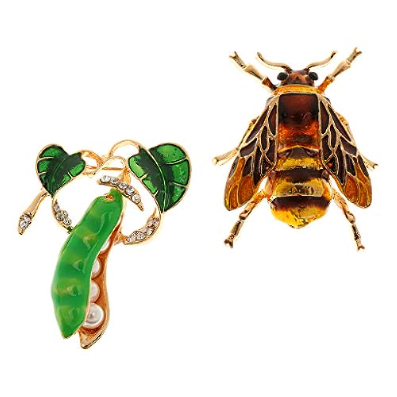 IPOTCH エンドウブローチピン 蜂ブローチピン ハチブローチ 昆虫ブローチピン 昆虫ブローチ クリスタルブローチ