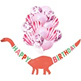 誕生日 飾り付け 恐竜 ピンク パープル 女の子 子供 面白い 動物 happy birthday バナー ガーランド バルーン 風船 紙吹雪入れ 16枚セット (ピンク)