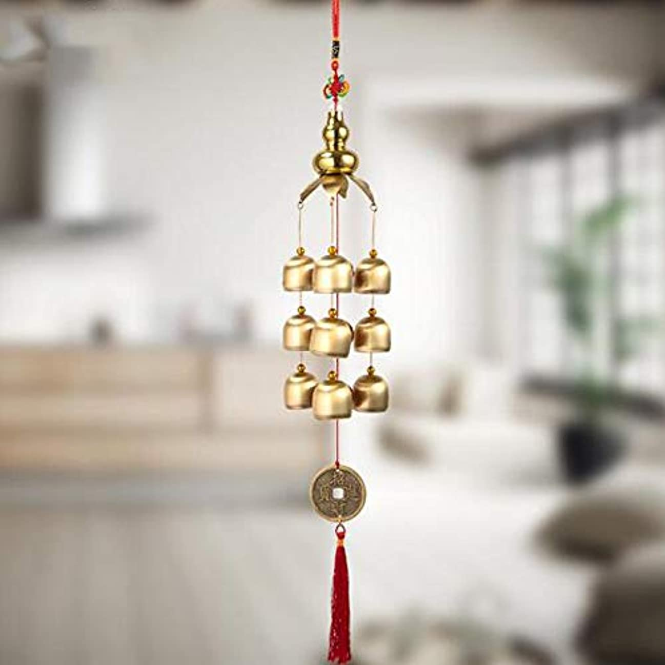 ストライプ懇願する陸軍Jielongtongxun 風チャイム、クリエイティブ?銅ひょうたんホームデコレーション風チャイム、ゴールド、約45CMの長さの合計,絶妙な飾り (Color : C)