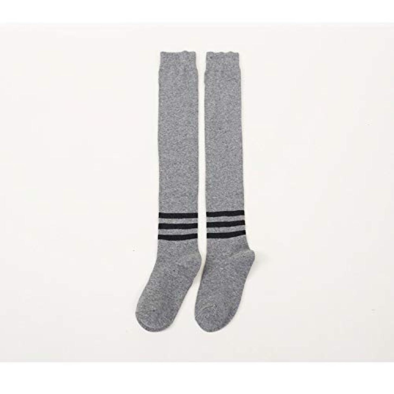 制限する注ぎます局膝の靴下秋と冬の女子学生日本の3つのバー滑り止め水平バー太ももの靴下カレッジ風綿ストッキング