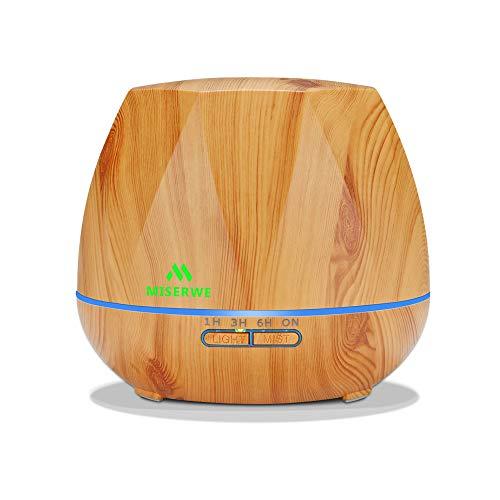 Miserweアロマディフューザー 550ML 加湿器 超音波式 アロマ加湿器 ランキンダ 大容量 空焚き防止 7色変換LED搭載 空気清浄機 卓上 木目調 部屋 会社 SPA美容など適用