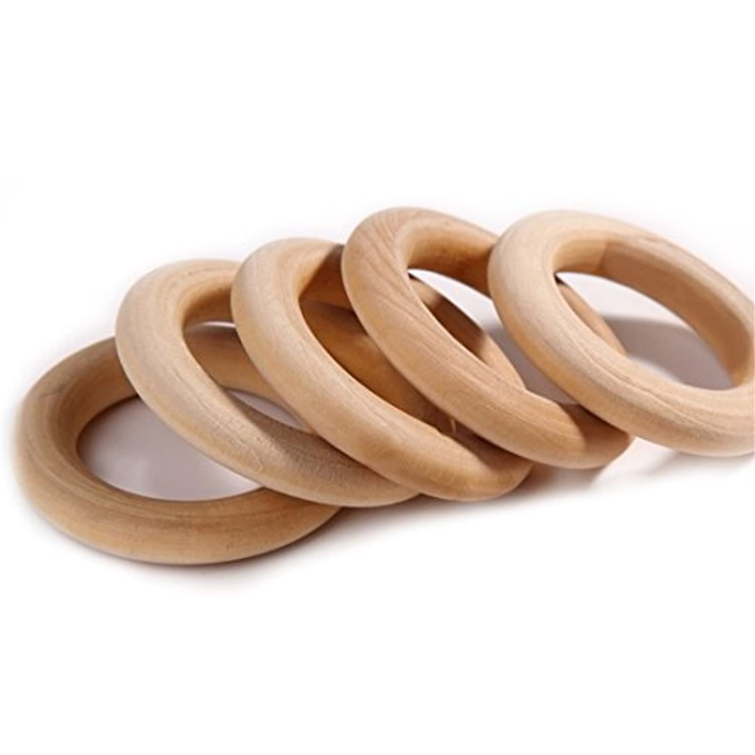 20pc 56mm 2.2 Inch Natural Unfinished Wooden Teething Rings Baby Teether Mom Nursing Jewelry Diy Wood Ring by LOVEBABY