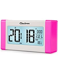 Chelvee(TM) 多機能 大スクリーンLCDデジタル目覚まし時計,押すと自動光感知、夜間点灯,温度/日付/時間表示,5/6/7日アラームセット,スヌーズ機能,外観おしゃれ、シンプル (ピンク)