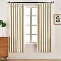 NAPEARL 無地シンプル現代ベッドルームカーテン(ベージュ、幅100X丈178Cm 2枚組)