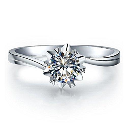 [해외]진짜 순은 멋진 눈송이 스타일의 1ct 다이아몬드 여성 결혼 기념일 반지/1ct diamond woman wedding anniversary ring of genuine sterling silver lovely snowflake style