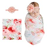XMWEALTHY Newborn Receiving Swaddle Blanket Sets Floral Headband Set Soft Baby Blankets for Baby Girls Boys Flower2