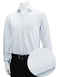 (バルバ) BARBA BRUNO ストライプ セミワイド襟ドレスシャツ ホワイト&ネイビー [並行輸入品]