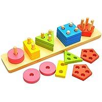 木製カラー形状認識と教育Preschool幼児用おもちゃ幾何ボードブロックスタックソートShape Sorter Toy