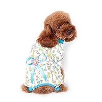 犬ジャンプスーツロンパース用コットン小ストロベリー犬スーツ服パジャマ服コートペット衣装ペット服:ブルー、XXL