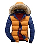 JinNiu メンズ ダウンコート フード付き 毛襟付き 中綿 コート 軽量 大きいサイズ アウトドア 防寒コート 軽量 ダウンジャケット 着やすい 柔らかい タートルネック ダウンジャケット 柔らかい 上品 高品質 防寒コート 冬の暖かいコート E M