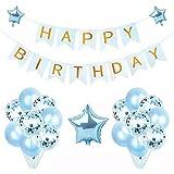 誕生日 飾り付け Camino(16点セット)ガーランド風船 バースデー 飾り セット バルーン かざりつけ 一歳 (ブルー)