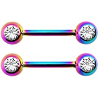 Forbidden Body Jewelry Pair of 14G 14mm IP Plated Surgical Steel CZ Crystal Nipple Ring Barbells