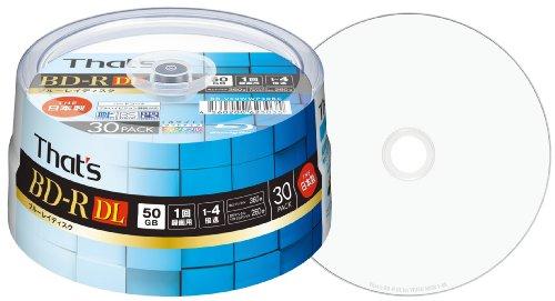 That's ブルーレイディスク BD-R DL ビデオ用 1-4倍速 360分 50GB 日本製 片面2層 ハードコート仕様 ワイドプリンタブル白  スピンドルケース30枚入 BR-V50WWP30BC