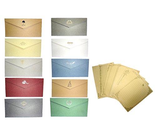 [comoza] メッセージカード 封筒 つき 手紙 便箋 レターセット ロング 10色 セット (マルチカラー)