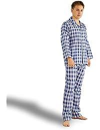 パジャマ メンズ ルームウェア シンプル ポケット付き 部屋着 - (ホームウェイ)Homeway 軽い 敏感肌 肌に優しい 綿100% (二重ガーゼ) 上下セット 長袖 チェック柄 おしゃれ あったか 気持ち良い 春夏秋用...