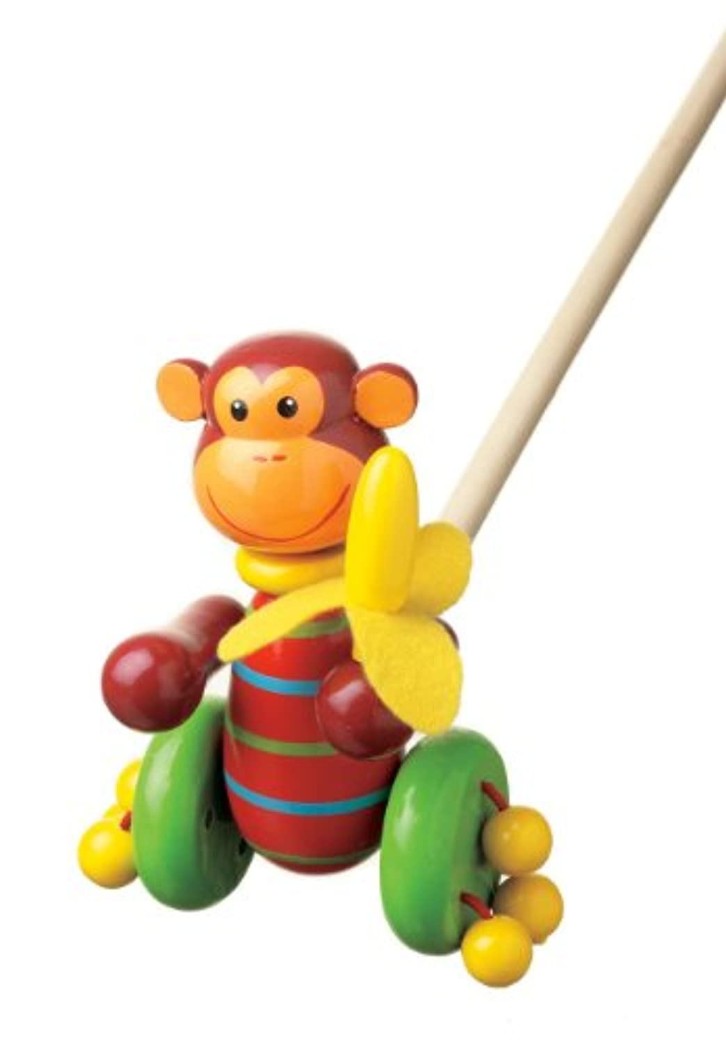 Orange Tree Toys FSC Monkey Push Along Wooden Toy
